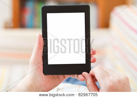 Man Read With E-book Reader With Cut Out Screen
