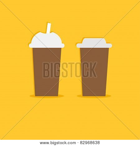 Two Disposable Coffee Paper Cups Icon. Flat Design