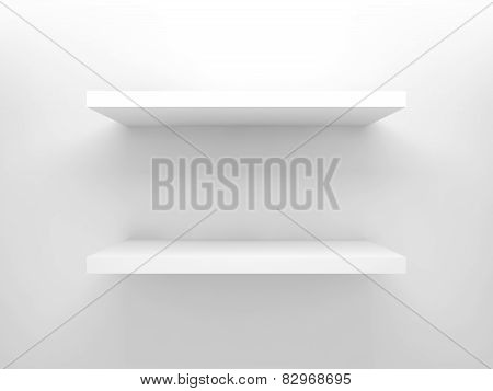 Abstract 3D Design Element, Empty White Shelves
