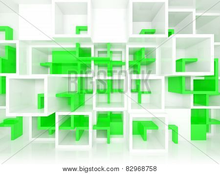 3D Design Background With White And Green Chaotic Cells