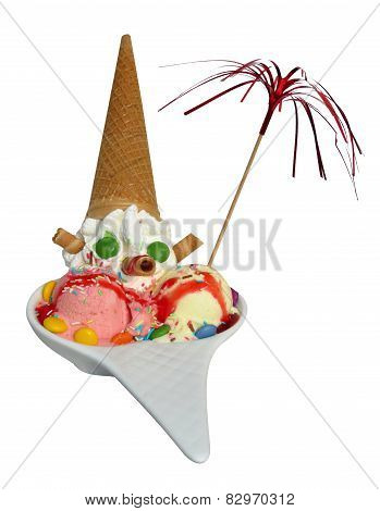 ice cream sundae with cone, candy and whipped cream
