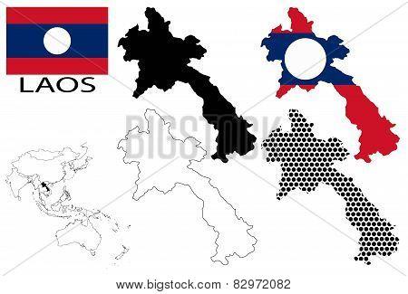 Laos - Four optional contour maps, National flag and Asia map vector