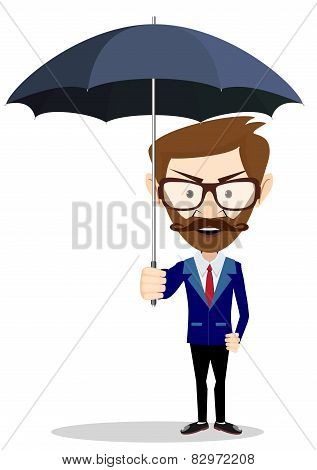 cartoon businessman with umbrella, vector illustration