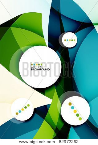 Flowing shapes fresh business template, brochure or card design template