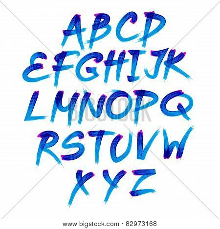 Handwritten Blue Watercolor Alphabet With Numbers Symbols. Vector