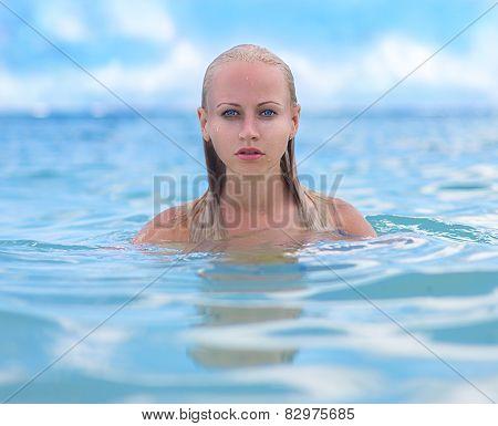 Mermaid In Caribbean Waves