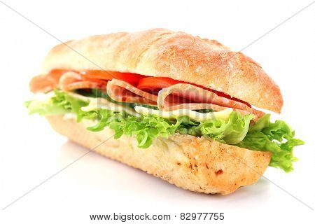 Fresh sandwich isolated on white