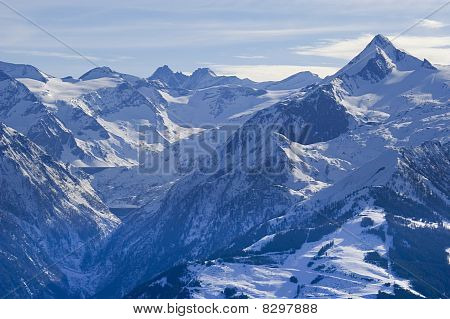 Alps Mountain In Austria In Winter