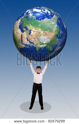 Boy Holding In His Hands Over His Head A Large Globe