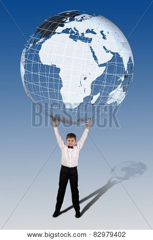 Boy Holding In His Hands Over His Head A Large Translucent Globe