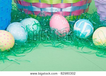Easter Eggs With Colored Grass