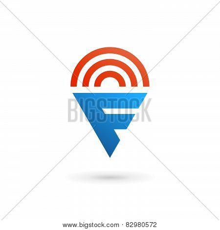 Letter F Wireless Logo Icon Design Template Elements