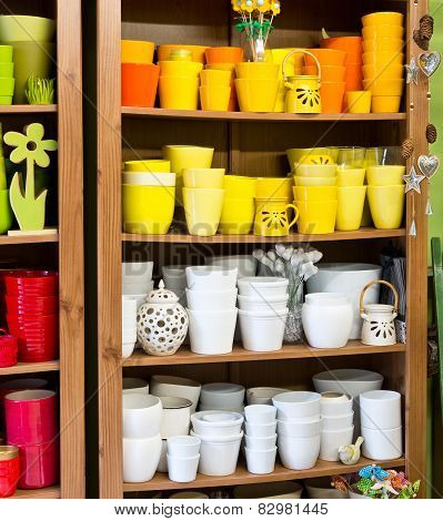 Clay Pots In The Florist Shop