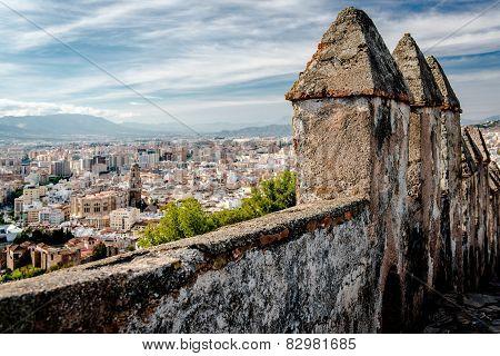 Part Of Gibralfaro Fortress (alcazaba De Malaga) And View Of Malaga City. Spain
