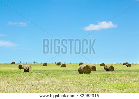 Australian rural field landscape with haystacks and blue sky