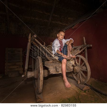 ukrainian boy in the old house