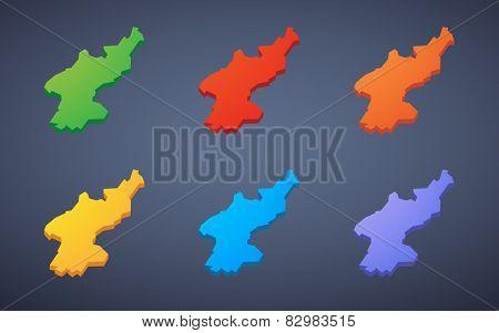 North Korea Map Icon Set