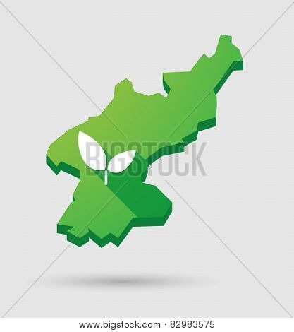 North Korea Map With A Plant