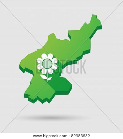 North Korea Map With A Flower