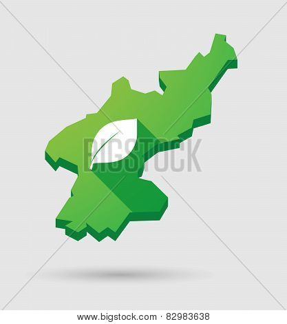 North Korea Map With A Leaf
