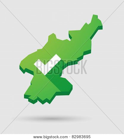 North Korea Map With A Check Mark