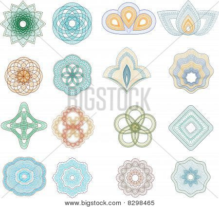 Vector set of guilloche rosette