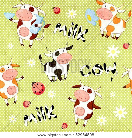 Seamless background with cute cows, ladybirds and paper texture