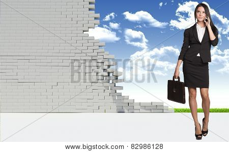 Beautiful businesswoman in shirt and skirt looking at camera. Dilapidated brick wall, green meadow w