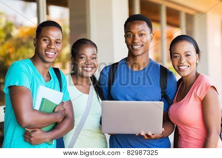 group young african college students with laptop computer