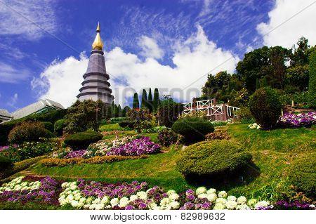 The Stupa Phra Mahathat Naphamethanidon At Doi Inthanon, The Highest Mountain Of Thailand, Amidst A