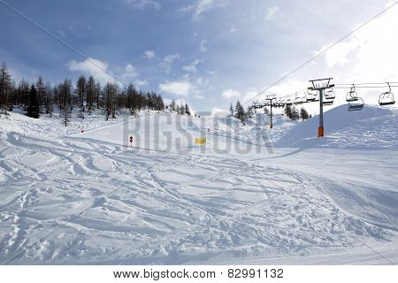 Ski Run In Austrian Alps