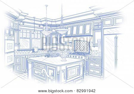 Beautiful Custom Kitchen Design Drawing in Blue Isolated on White.