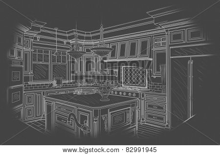 Beautiful Custom Kitchen Design Drawing in White On Grey Background.
