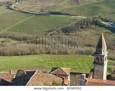 Countryside village and rural landscape