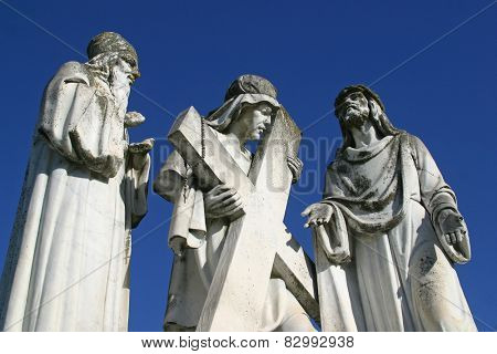 MARIJA BISTRICA, CROATIA - MAY 26: 2nd Stations of the Cross, Jesus is given his cross, pilgrimage Sanctuary, Assumption of the Virgin Mary in Marija Bistrica, Croatia, on May 26, 2009