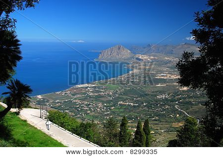 Gulf Of Bonagia (mount Cofanor) View From Erice, Sicily