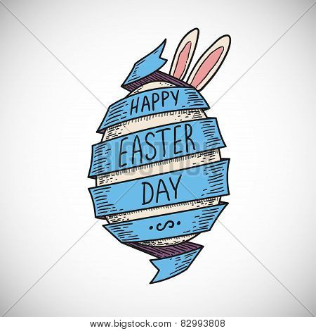 blue color spiral ribbon and Easter egg