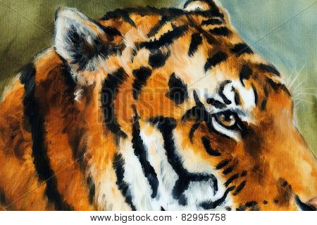 Detail Tiger Head On A Soft Toned Abstract Background