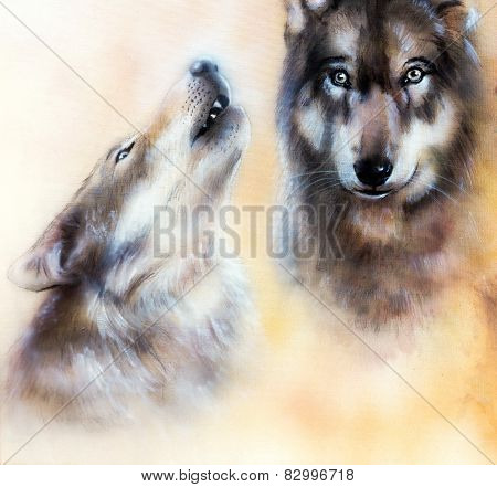 Illustration painting Pair of wolves on yelow background