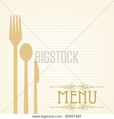 Template for menu card with cutlery. Vector Illustration