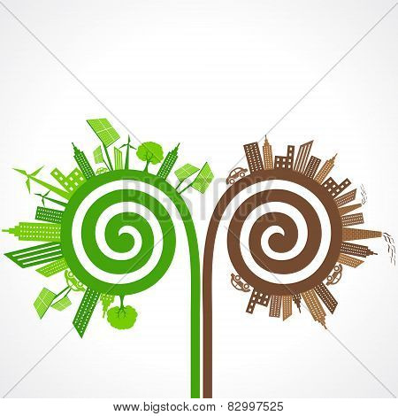 Ecology concept with eco and polluted cities. vector illustration