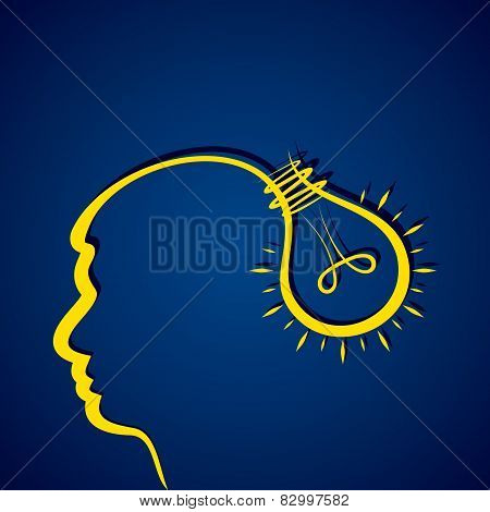 Business idea concept with head and light bulb