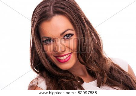 Beautiful young woman smiling, on white background