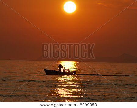 Sunset Meer Boot Kroatien