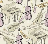 picture of sax  - hand drawn seamless pattern of classical musical instruments - JPG