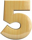 stock photo of 5s  - Wooden number 5  - JPG