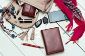stock photo of perfume  - the contents of the female handbag  - JPG
