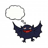 stock photo of vampire bat  - cartoon vampire bat with thought bubble - JPG
