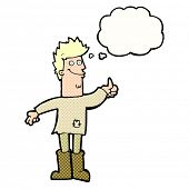 picture of think positive  - cartoon positive thinking man in rags with thought bubble - JPG