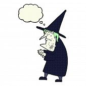 foto of ugly  - cartoon ugly old witch with thought bubble - JPG